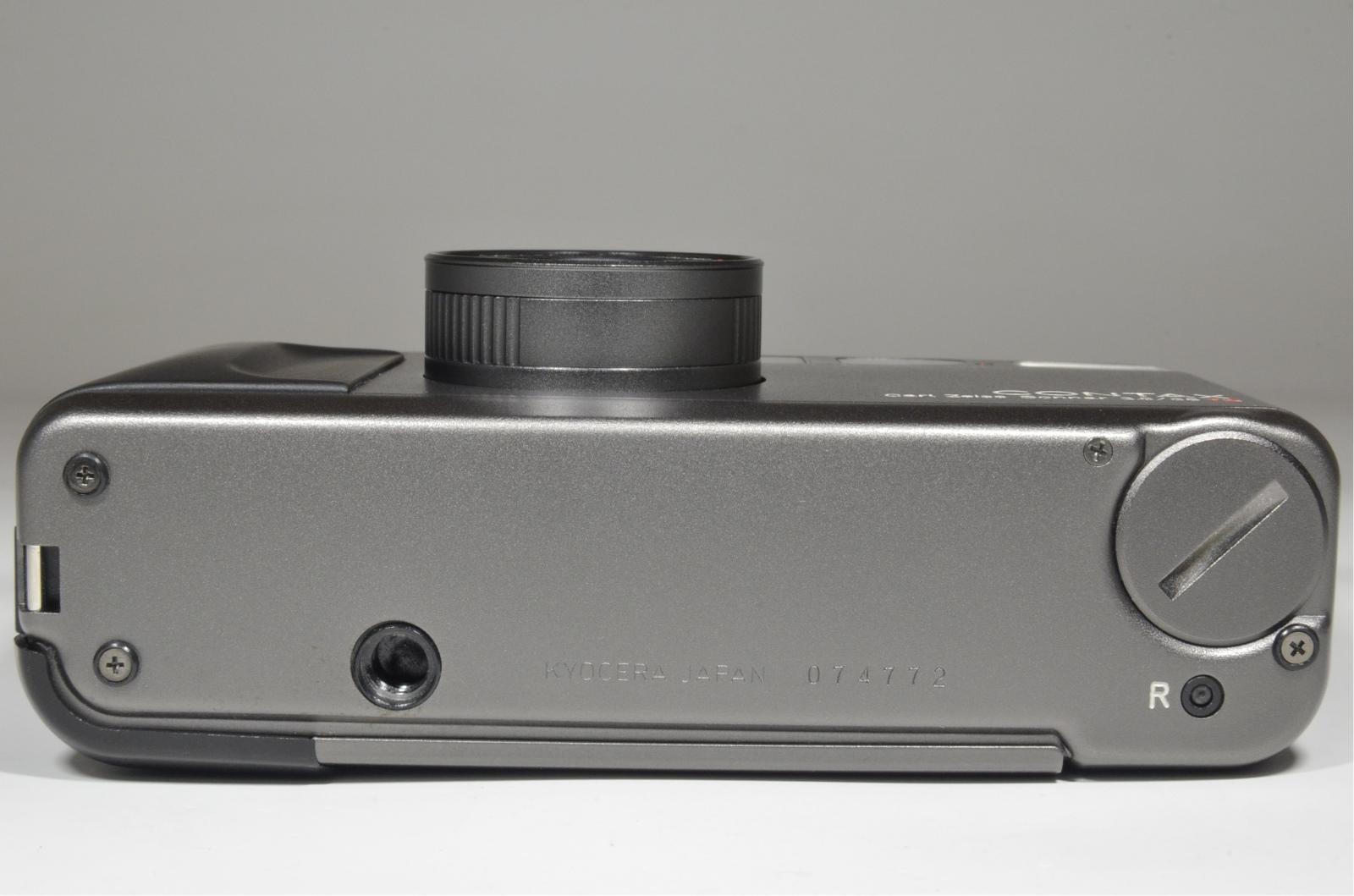 contax t2 titanium black 35mm film camera w/ full leather case