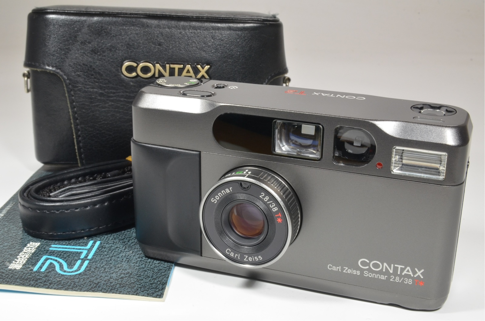 contax t2 titanium black 35mm film camera with full leather case