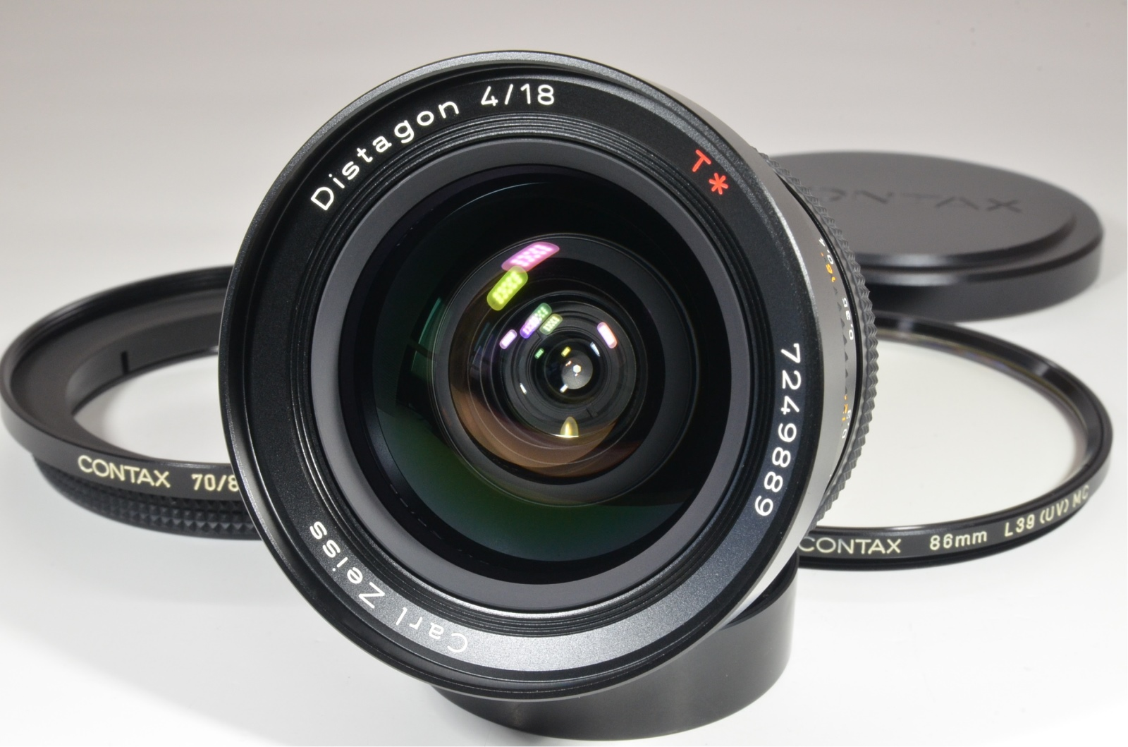 contax carl zeiss distagon t* 18mm f4 mmj with 70/86 ring and filter