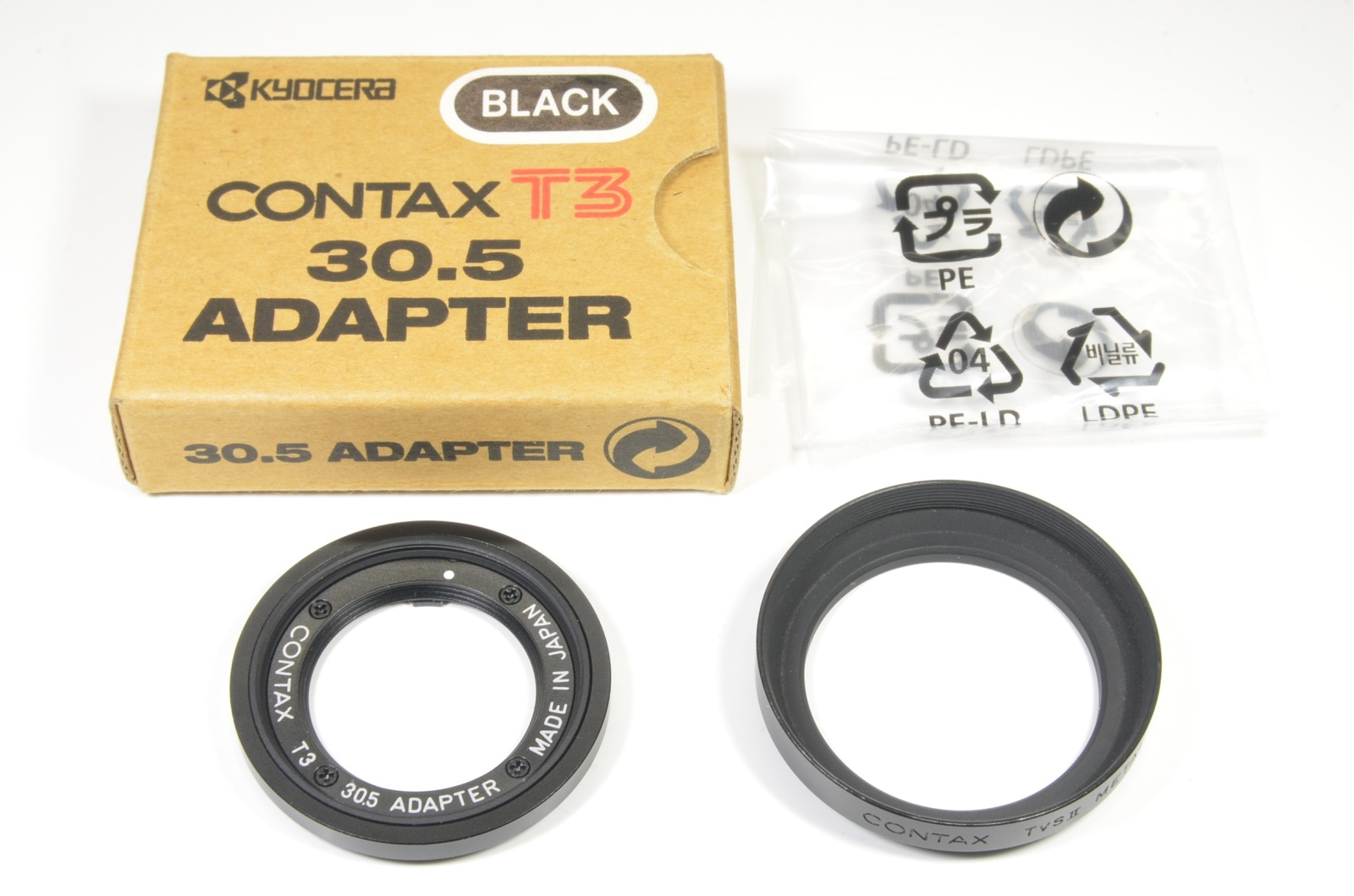 contax t3 30.5 adapter and contax tvsii metal hood black