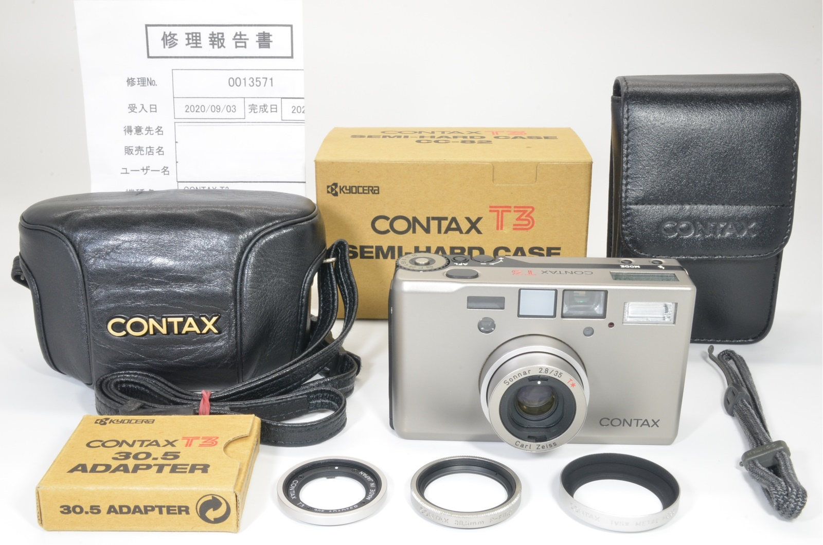 contax t3 silver 35mm film camera with cc-82 case overhauled shooting tested