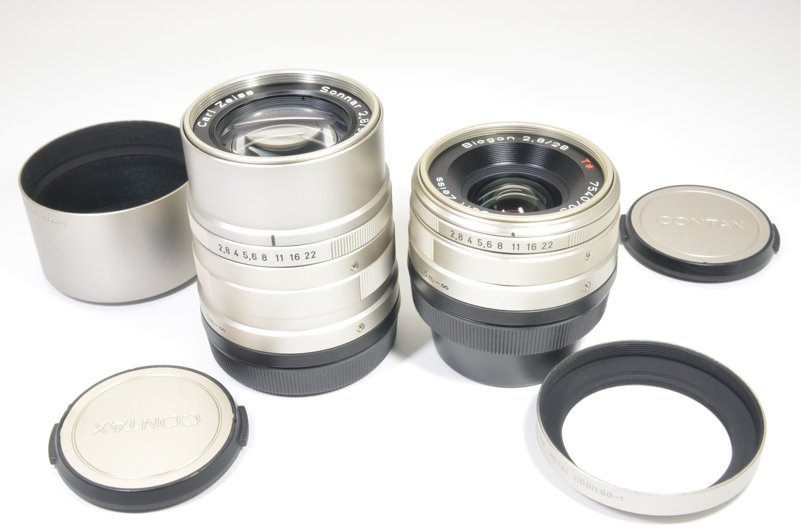 contax carl zeiss t* biogon 28mm f2.8 and sonnar 90mm f2.8 for g1, g2 from japan