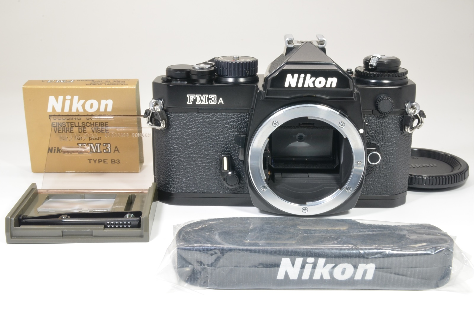 nikon fm3a 35mm film camera black with b3 focusing screen shooting tested