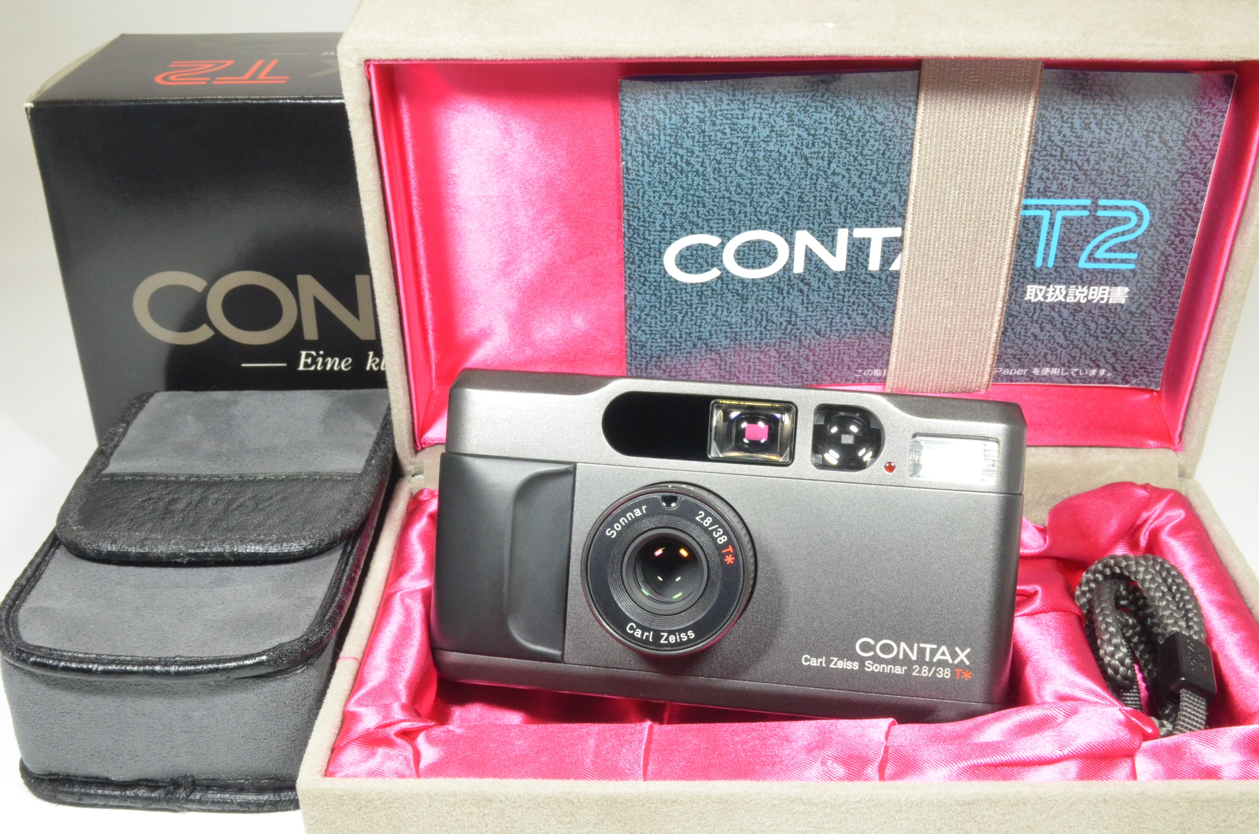 contax t2 titanium black point & shoot 35mm film camera boxed