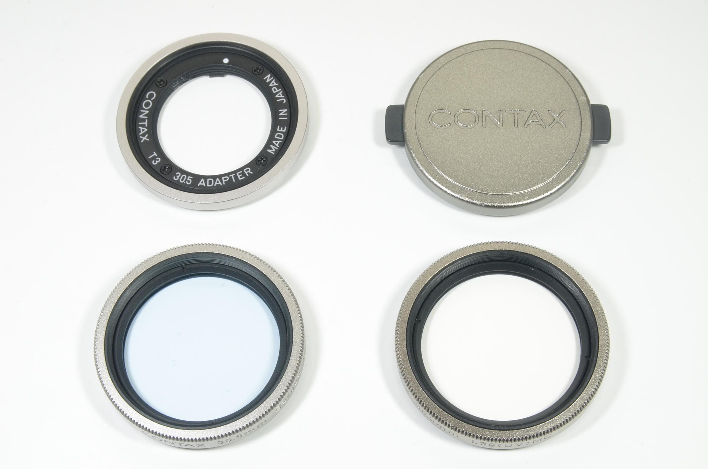 contax t3 30.5 adapter, filters b2(82a) mc, l39(uv) mc, and cap (k-31)