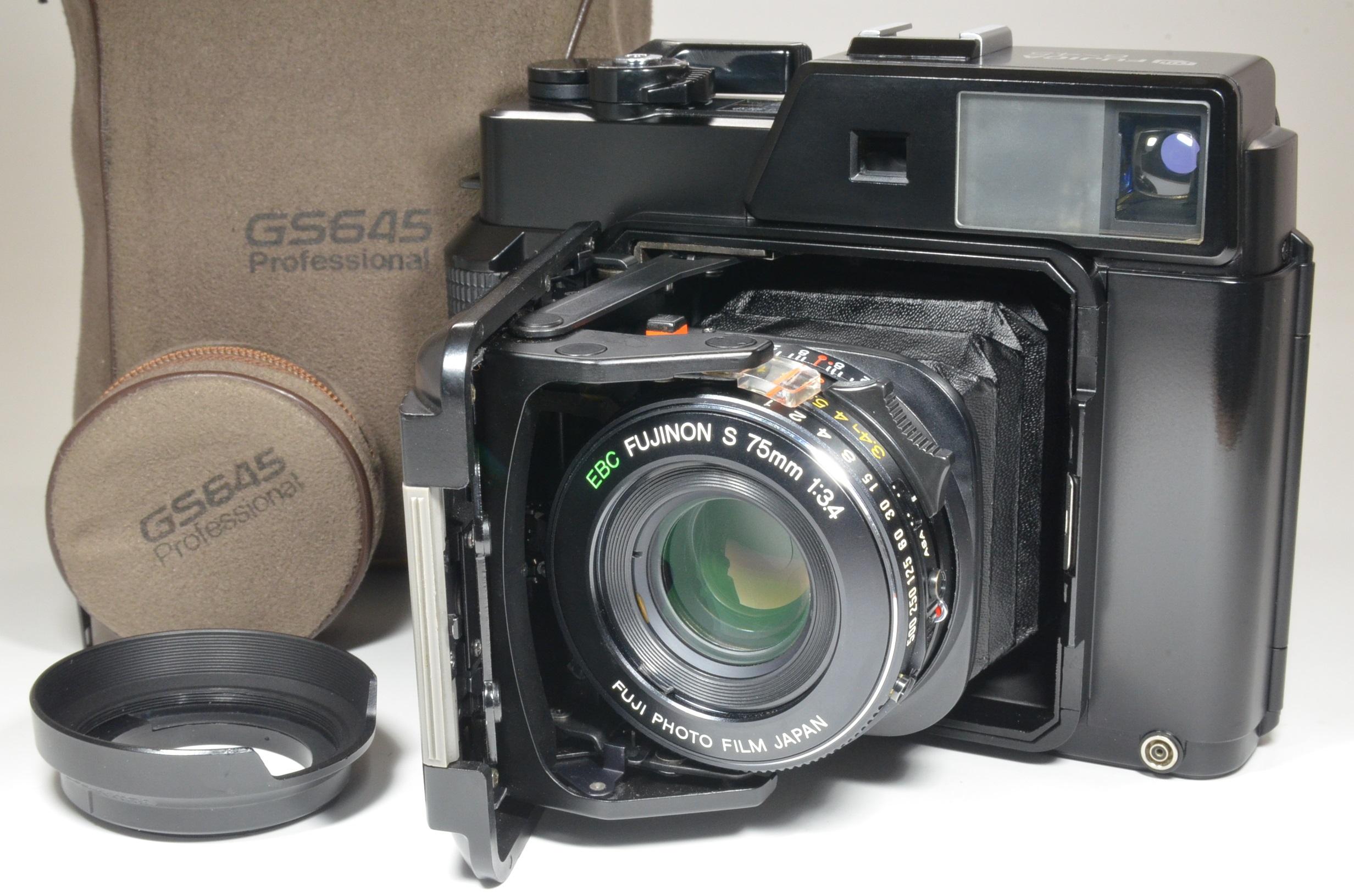 fujifilm fujica gs645 camera 75mm f3.4 with lens hood