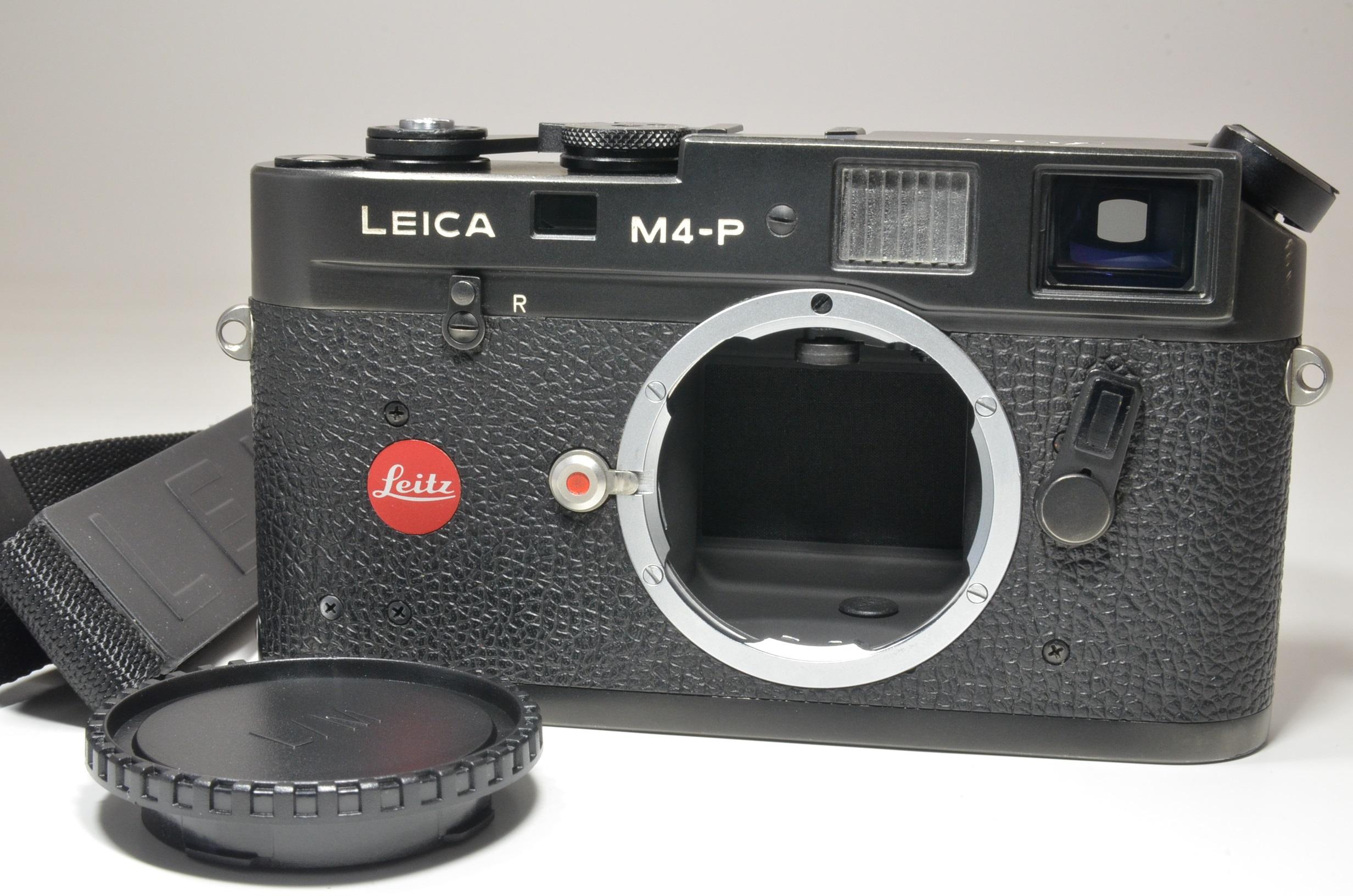 leica m4-p black 35mm rangefinder film camera s/n *1552782 w/ strap