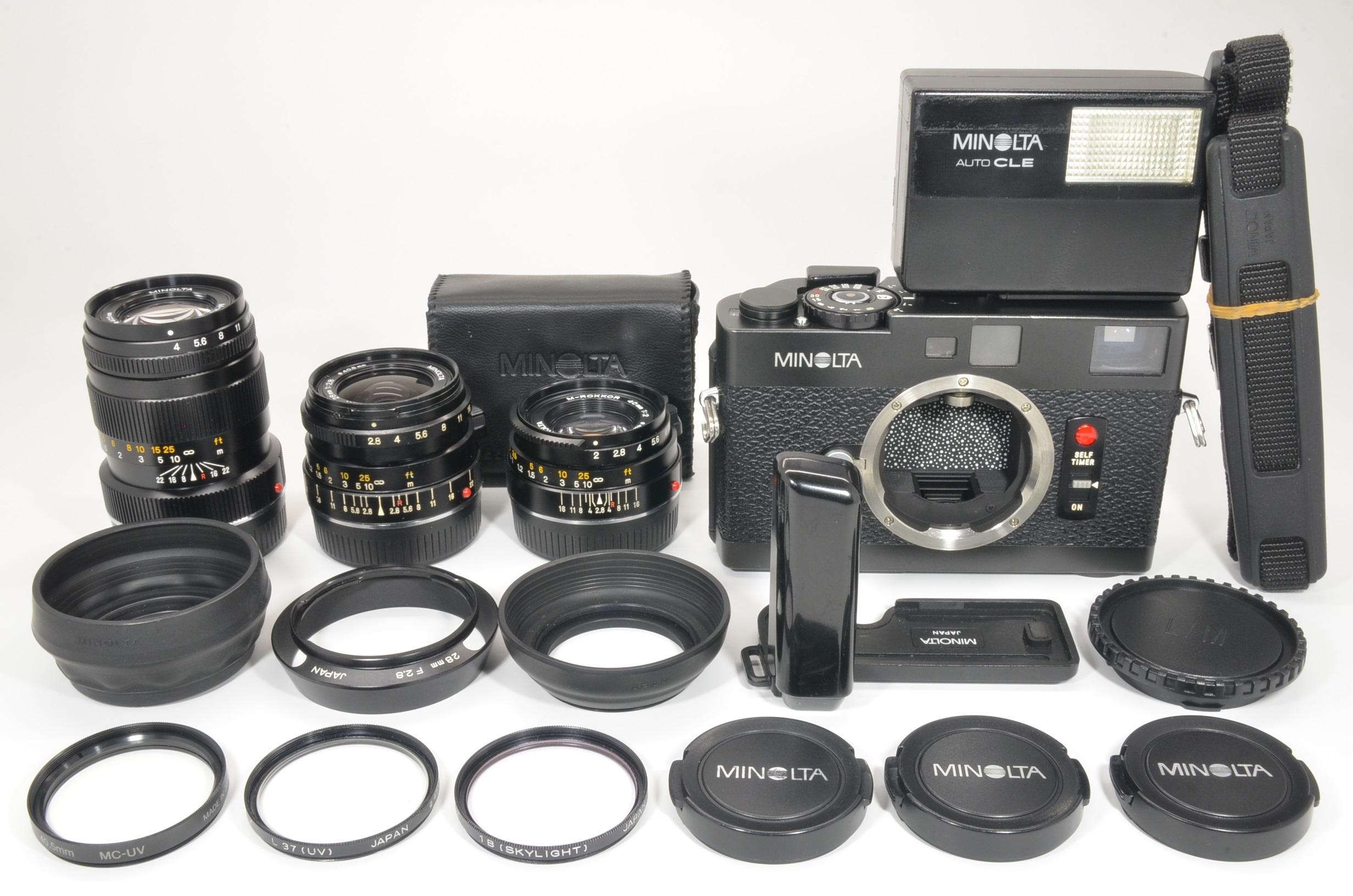 minolta cle w/ m-rokkor 40mm f2, 28mm f2.8, 90mm f4, flash, grip shooting tested