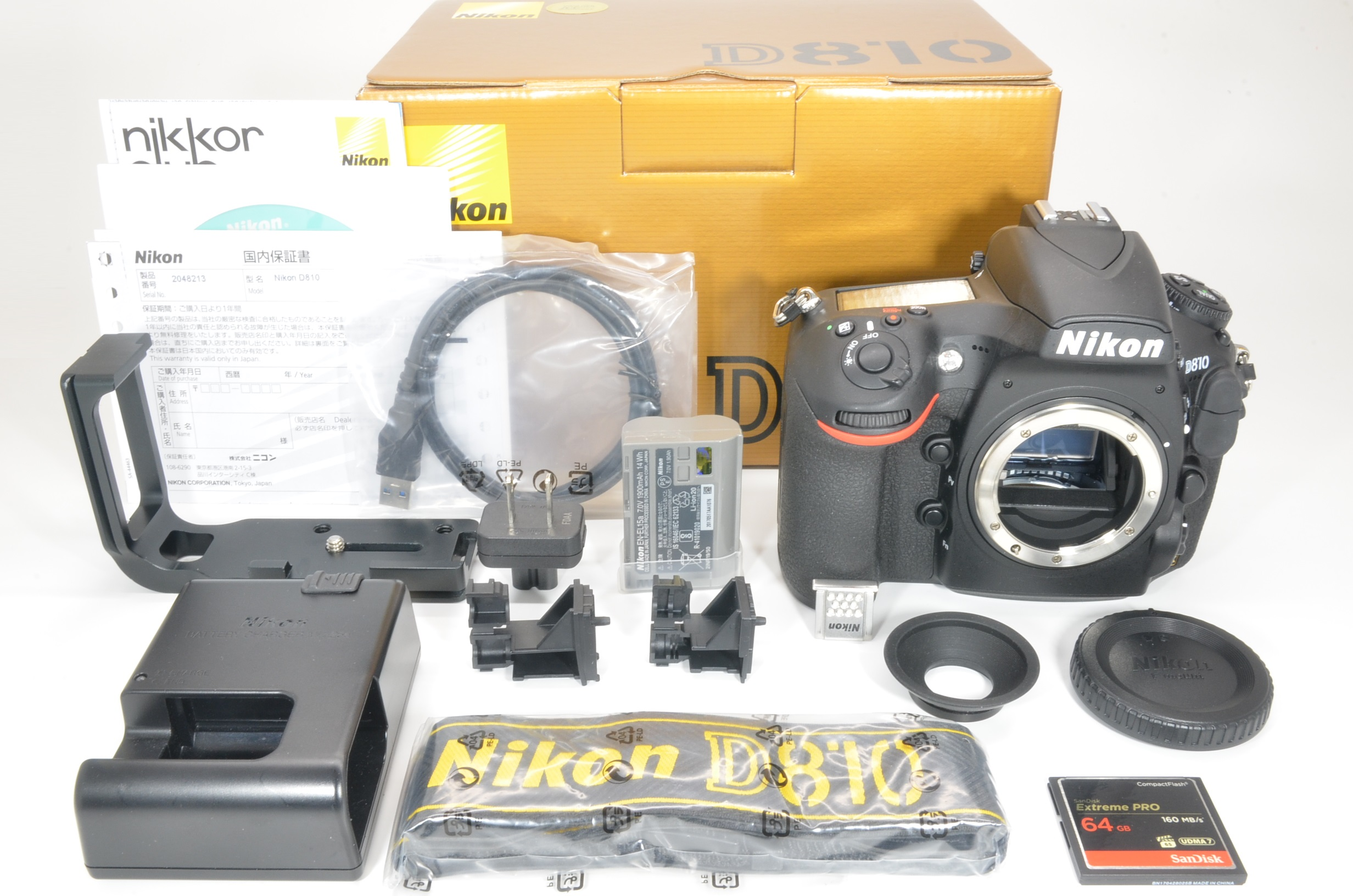 nikon d810 36.3mp digital slr camera with l plate and 64gb cf card