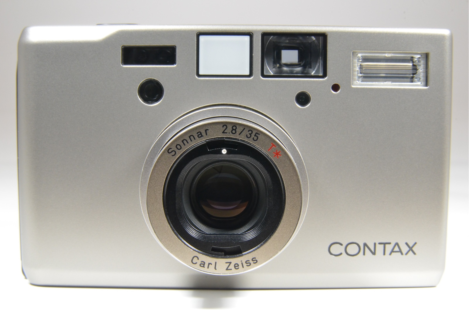 contax t3 p&s 35mm film camera with hood and 4 lens filters