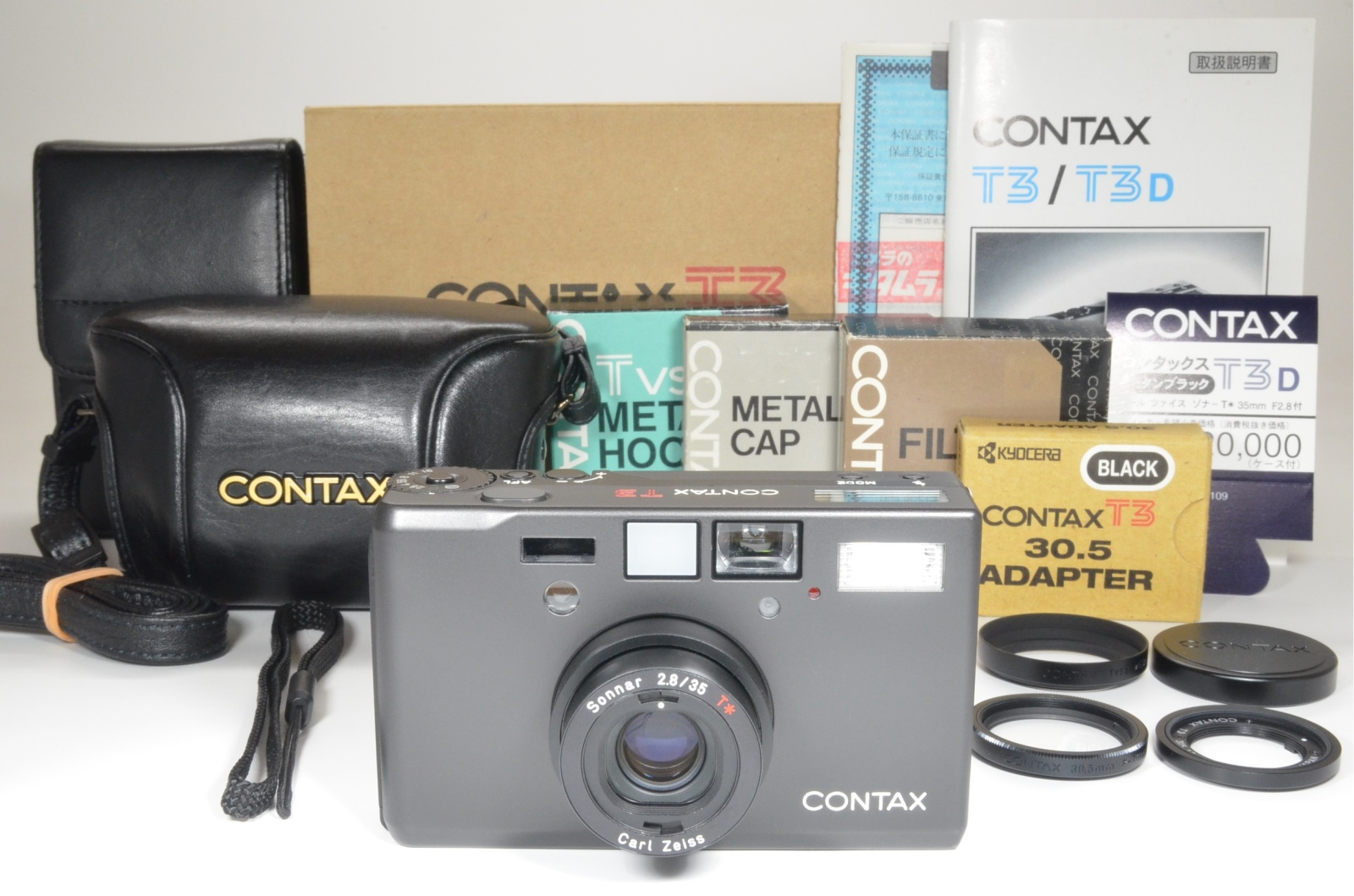 contax t3 black data back with metal hood and full leather case