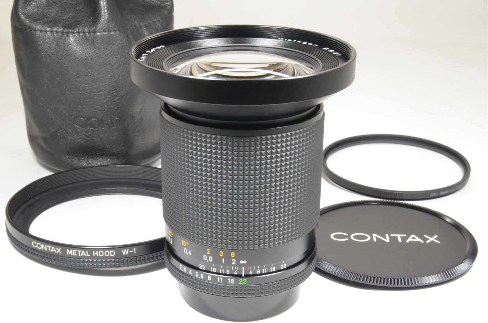 contax carl zeiss distagon t* 21mm f2.8 mmj with metal hood w-1