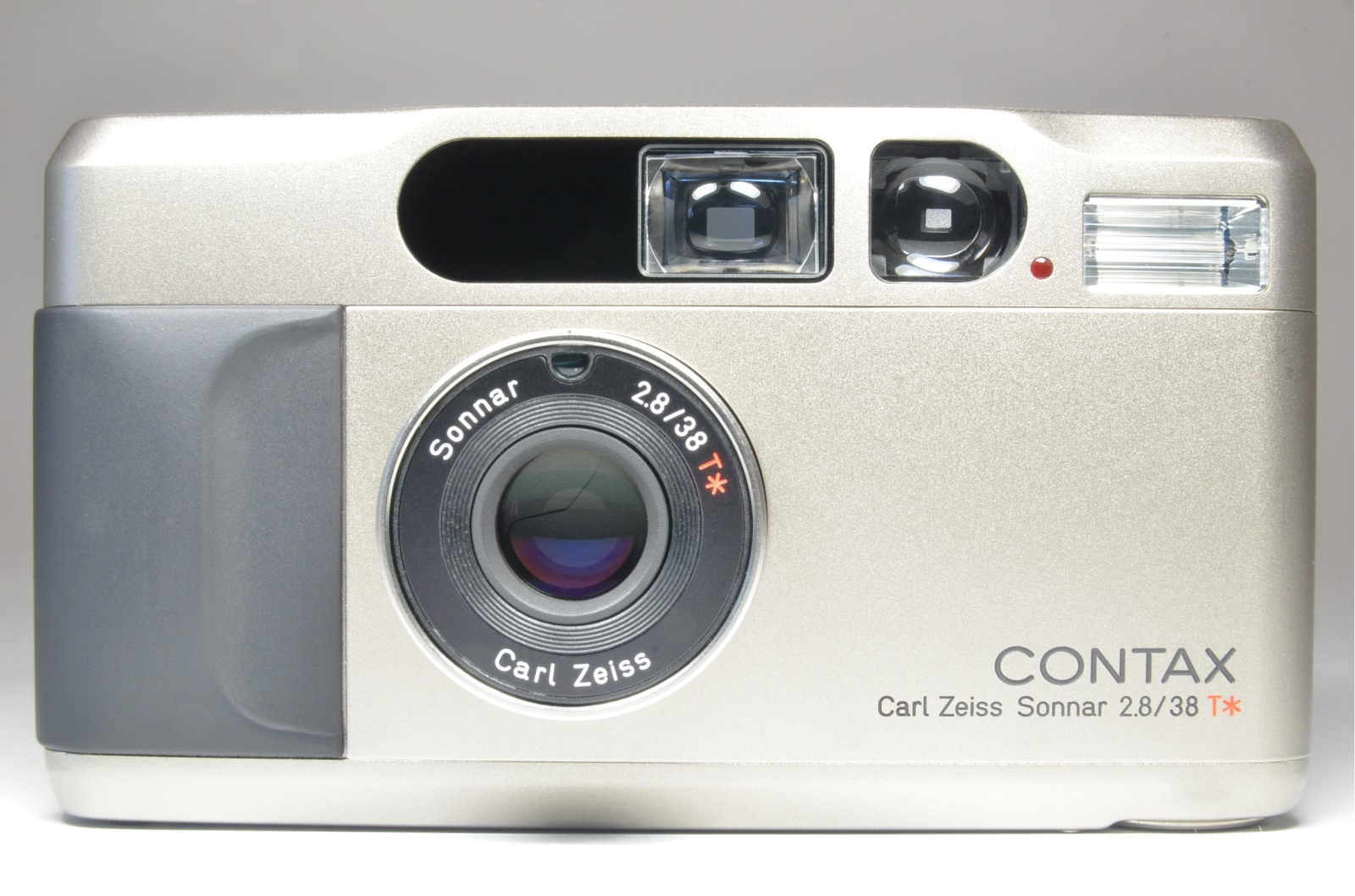 contax t2 titanium silver 35mm film camera with semi hard case