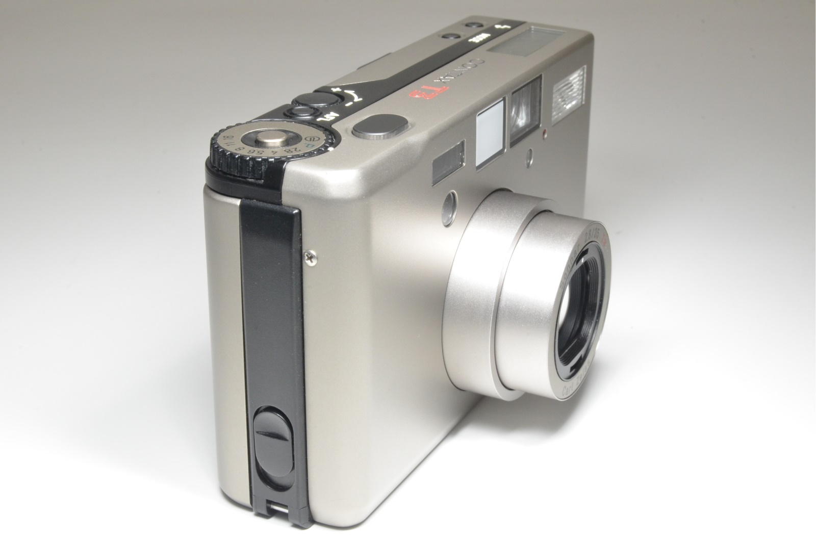 contax t3 titanium silver with adapter, lens filter, metal hood