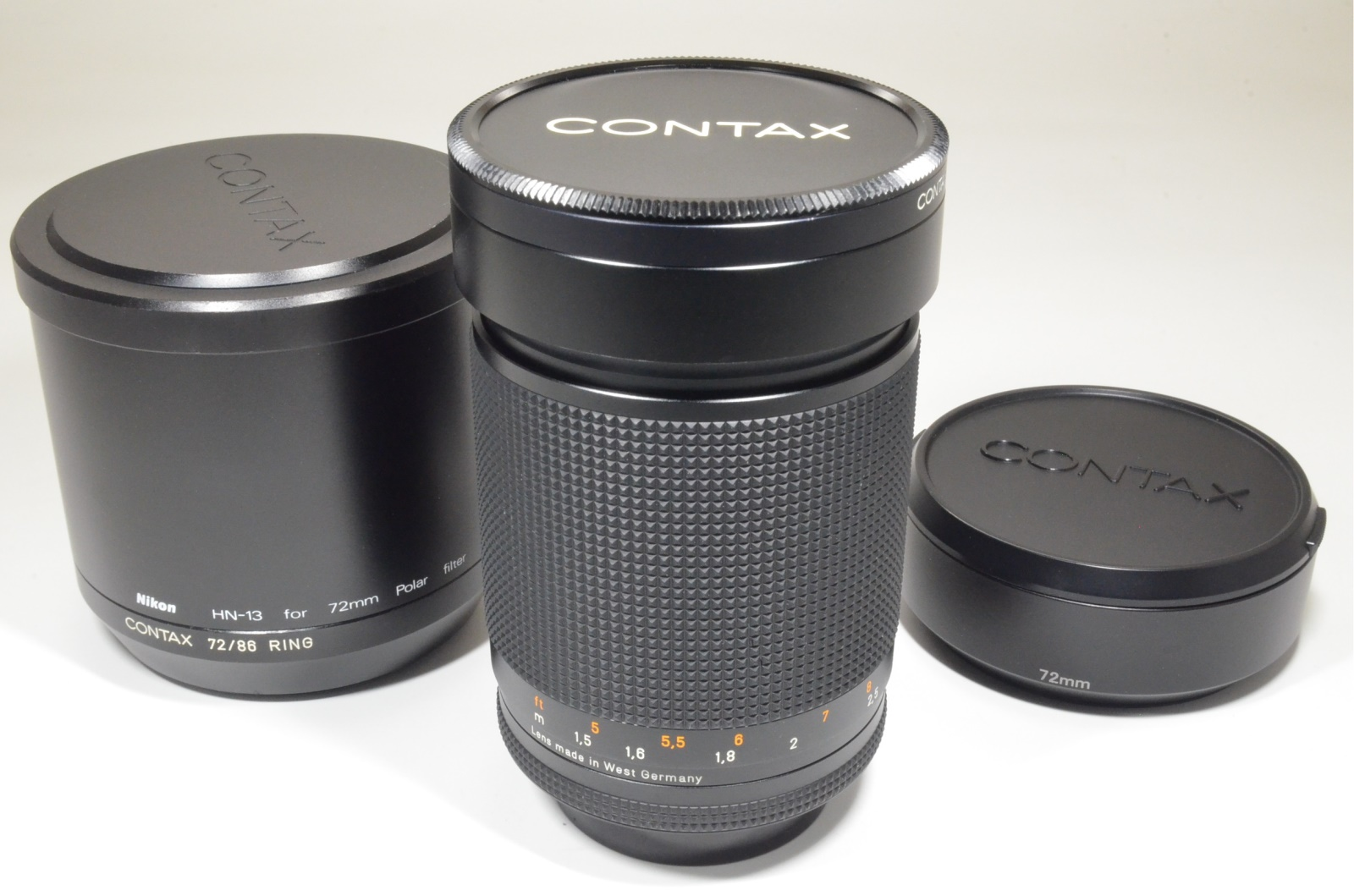 contax carl zeiss planar t* 135mm f2 mmg west germany with 2 lens hoods rare!