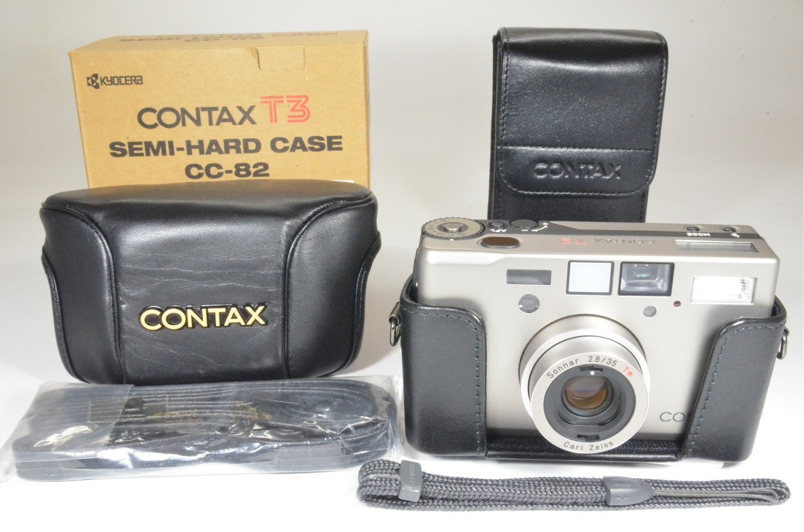 contax t3 titanium silver double teeth with semi-hard case film tested