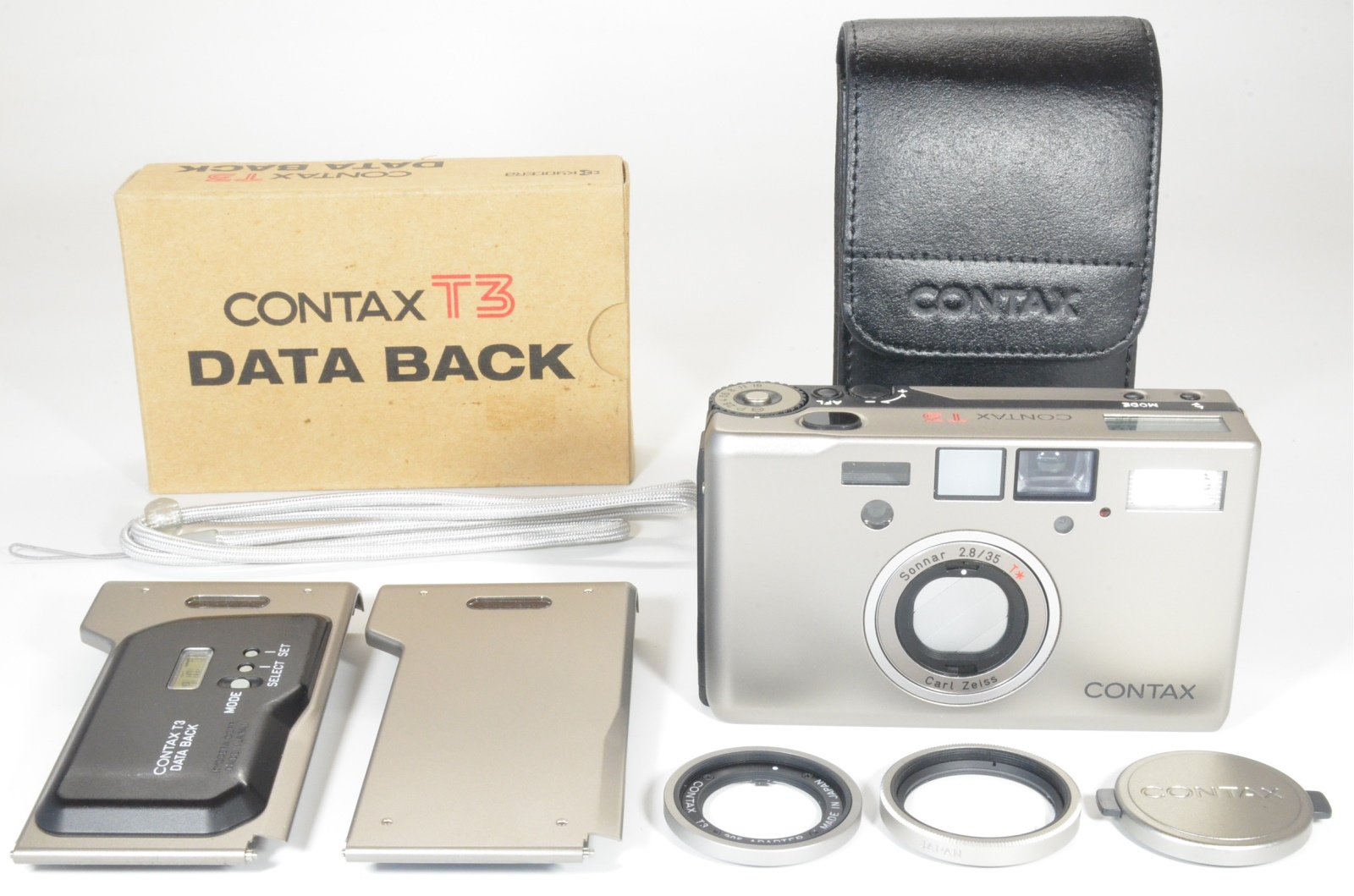 contax t3 double teeth with data back, 30.5 adapter and lens filter film tested