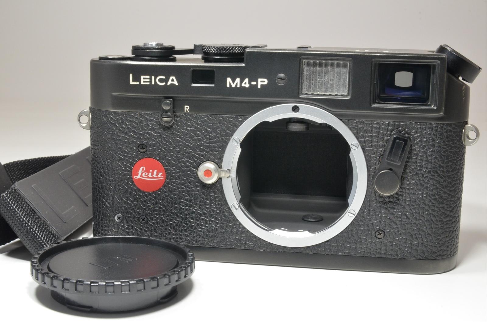 leica m4-p black 35mm rangefinder film camera s/n *1552782 with strap