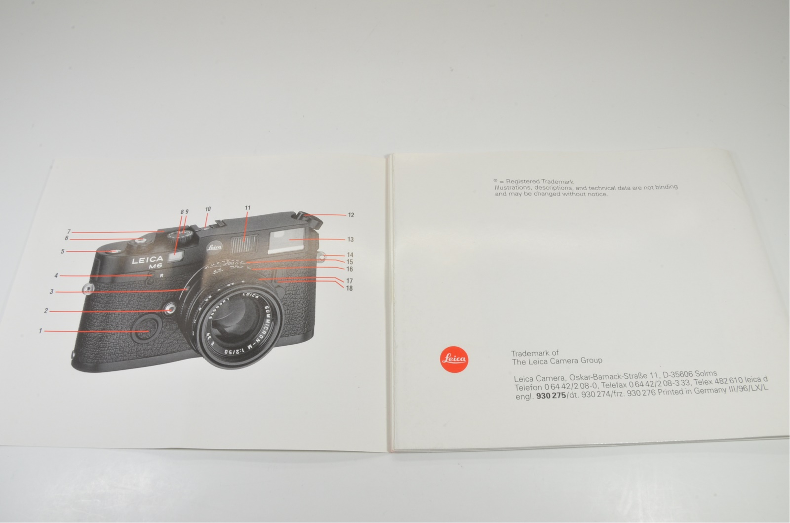 leica m6 empty box, plastic case, strap box and english instructions from japan