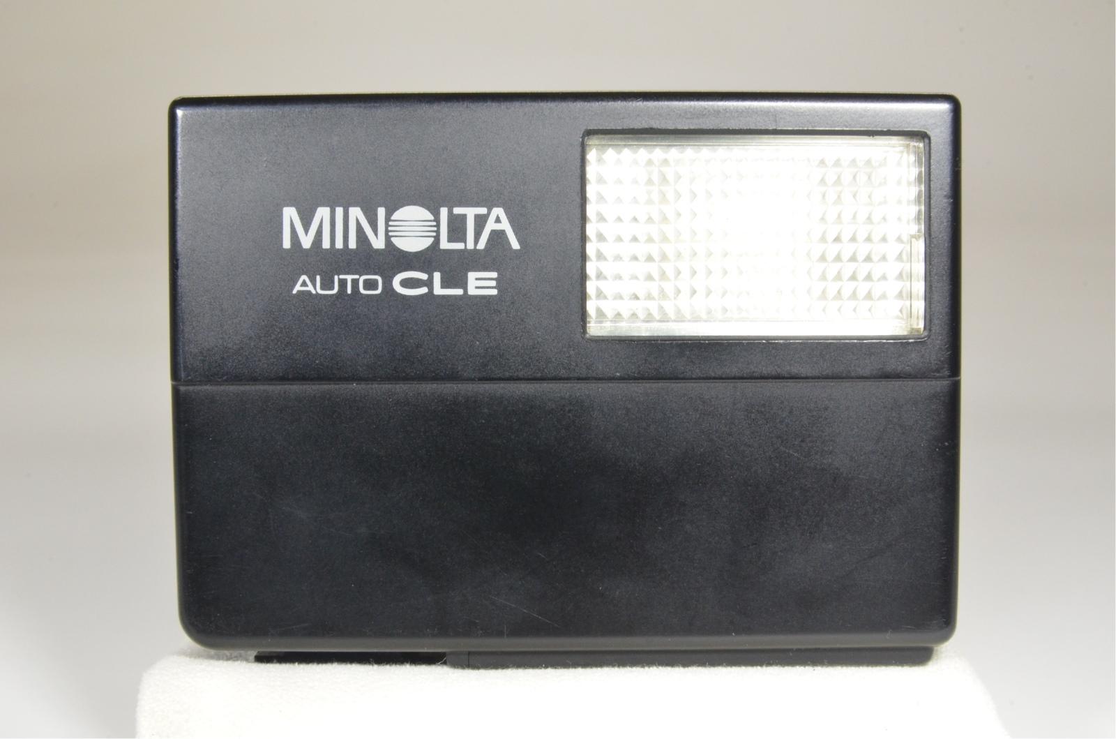 minolta cle film camera w/ m-rokkor 40mm, 28mm, 90mm and flash, film tested
